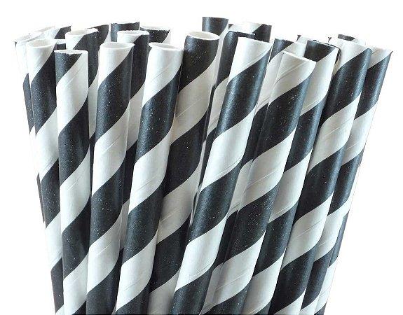 Canudo de papel listra preto - 20 unidades