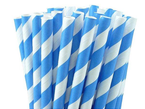 Canudo de papel listra azul - 20 unidades