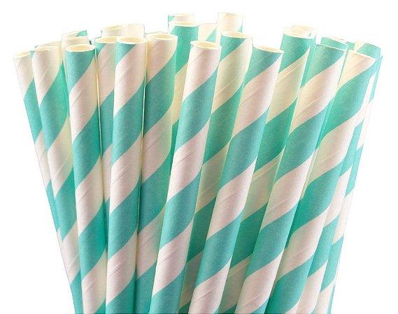 Canudo de papel listra azul turquesa - 20 unidades
