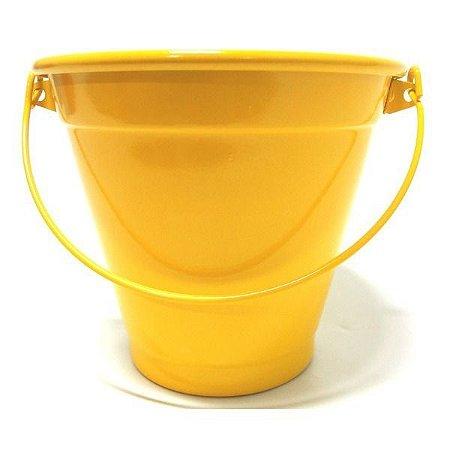 Balde de alumínio com alça - cor amarelo
