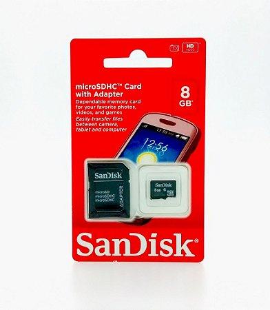 Cartão de Memória Micro SD 8GB Com Adaptador - SanDisk