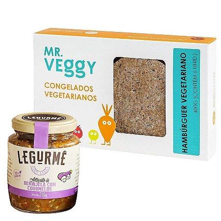 Combo Hambúrguer Vegetariano + Antepasto de Berinjela com Cogumelos