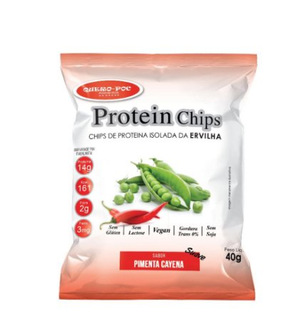 Chips de Proteína Isolada da Ervilha Sabor Pimenta Cayena Suave 40g - QueroPoc