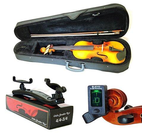 Kit Violino Barth Violin Old LT (envelhecido mais claro) 4/4 com Estojo, Arco,Breu + Espaleira Shoulder Rest + Afinador