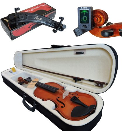 Kit Violino Barth Nt 4/4 com Estojo (CR), Arco,Breu + Espaleira Shoulder Rest + Afinador Joyo