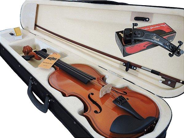 Kit Violino Barth Violin Nt 4/4 com Estojo (CR), Arco , Breu + Espaleira