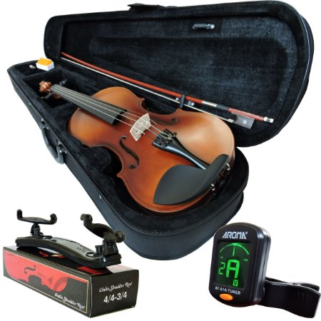 Kit Violino Barth Violin Old (envelhecido) 4/4 com Estojo  BK, Arco,Breu + Espaleira Shoulder Rest + Afinador Aroma mod. AT-01A