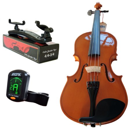Kit Violino Canhoto Barth Nt 4/4 com Estojo (BK), Arco , Breu + Espaleira