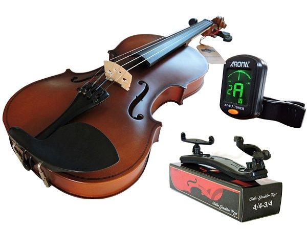 Kit Violino Canhoto Barth Violin 4/4 Old Envelhecido + Arco + Breu + Espaleira Shoulder Rest