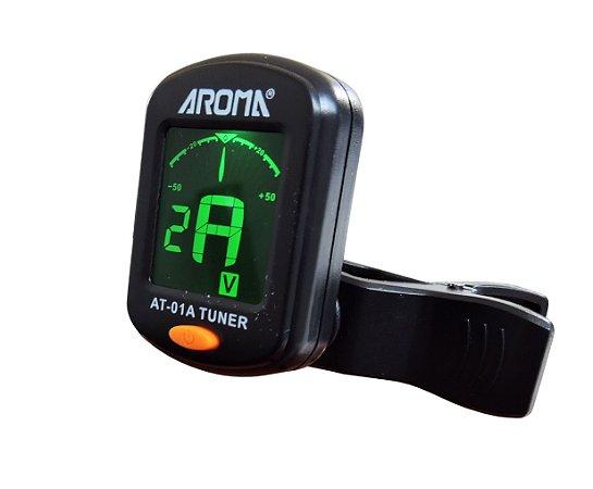 Afinador Digital com Clip - marca Aroma modelo AT-01A Tuner p/ Instrumentos de Cordas