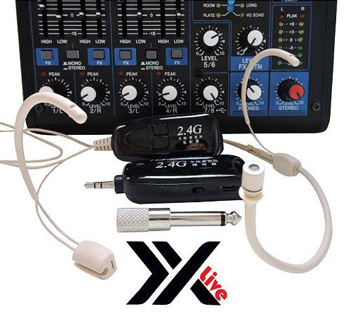 Microfone sem Fio Wireless 2.4G XXLive - Transmissor e Receptor para Youtubers, Shows, Palestras, Academias, Escolas - G18B