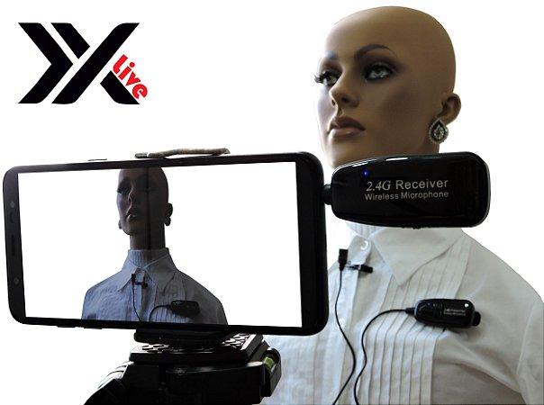 Microfone sem Fio Wireless 2.4G XXLive - Transmissor e Receptor para Youtubers, Shows, Palestras, Academias, Escolas - G18L