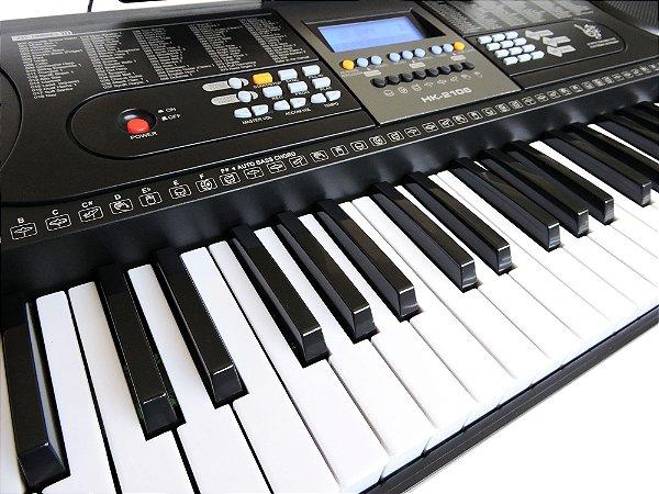 Teclado Musical Arranjador 61 Teclas HK 2106-Visor LCD+Fonte Bivolt+Suporte Partitura+Microfone