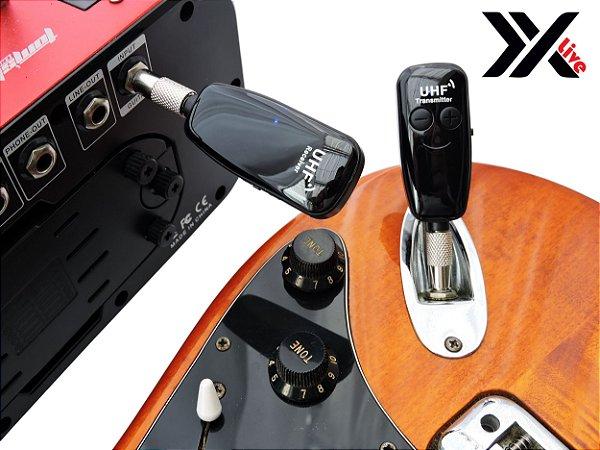 Transmissor e Receptor Wireless XXLive p/ Guitarra, Baixo, Violao Eletrico, Violino Eletrico - U12D