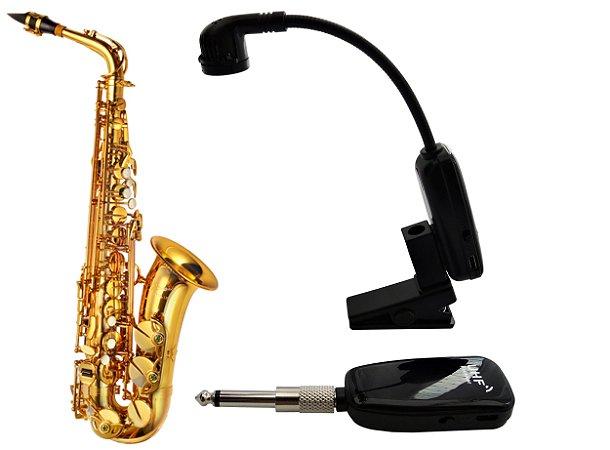 Microfone sem Fio Saxofone - Transmissor e Receptor Wireless XXLive para Instrumentos de Sopro - U12SKS