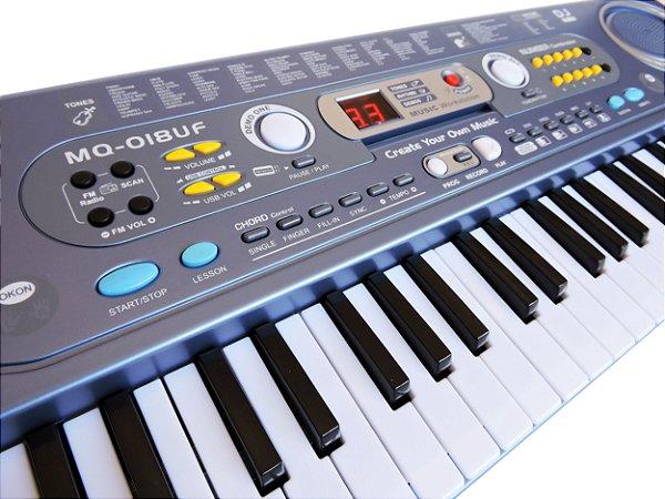 Teclado Musical Infantil 54 Teclas Usb com Microfone e Fonte Bivolt - MQ-018UF