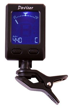 Afinador Digital com Clip - marca Deviser p/ Instrumentos de Cordas