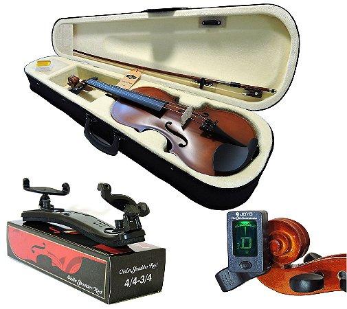 Kit Violino Barth Old (envelhecido) 4/4 com Estojo Cr, Arco,Breu + Espaleira Shoulder Rest +Afinador