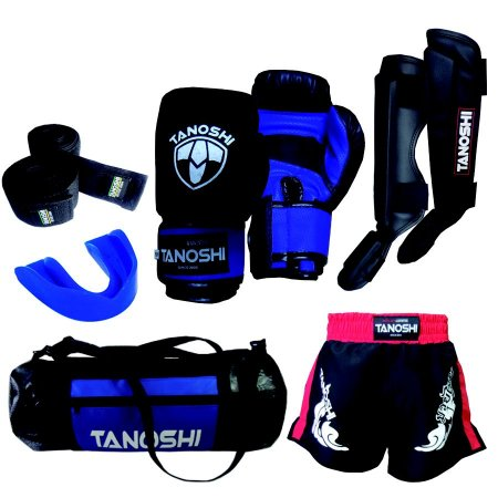 Kit Completo MuayThai com Luva Boxe + Caneleira + Shorts + Bandagem + bucal + bolsa KTX40