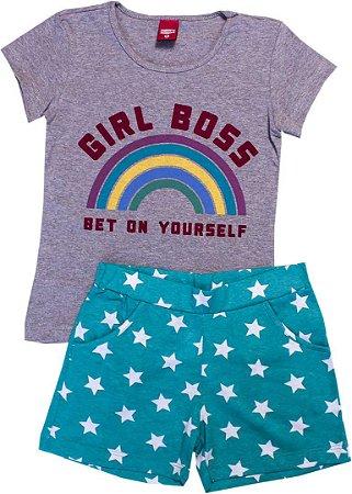 Conjunto Feminino Blusa Mescla e Shorts
