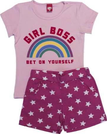 Conjunto Feminino Blusa Rosa e Shorts