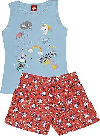 Conjunto Infantil Regata e Shorts com Laço