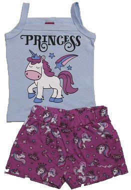 Conjunto Infantil Menina Regata e Shorts-Saia
