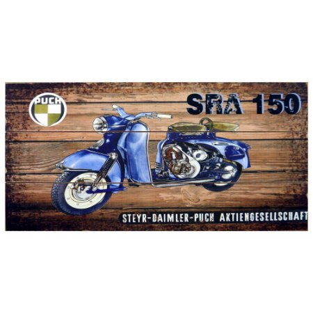 Quadro de Madeira Moto Azul SRA-150 AA-62 A