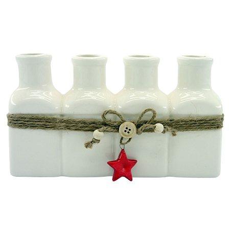 Vaso Ceramica C/4 Garrafas Branco AA-83 B
