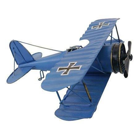 Avião Azul Pequeno em Metal CM-57