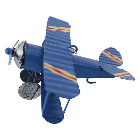 Mini Avião Azul em Metal CM-61 B