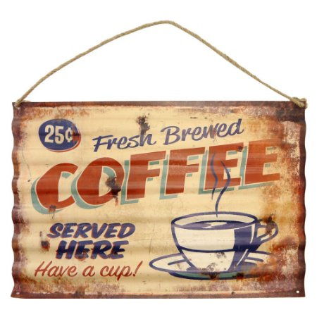 Placa Ondulada Fresh Brewed Coffee em Metal CW-20