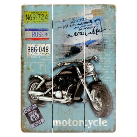Quadro De Madeira Motorcycle Preta DX-40 C