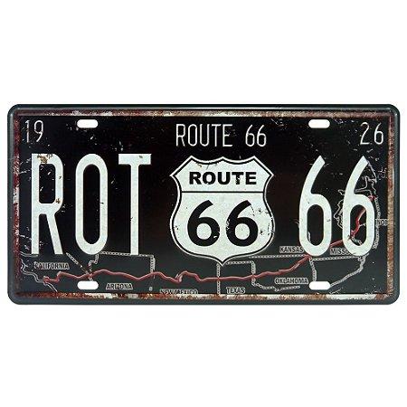 Placa de Metal Preta Route 66 DX-52