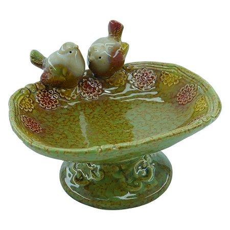 Porta Objeto Fonte com Pássaros em Cerâmica FG-28