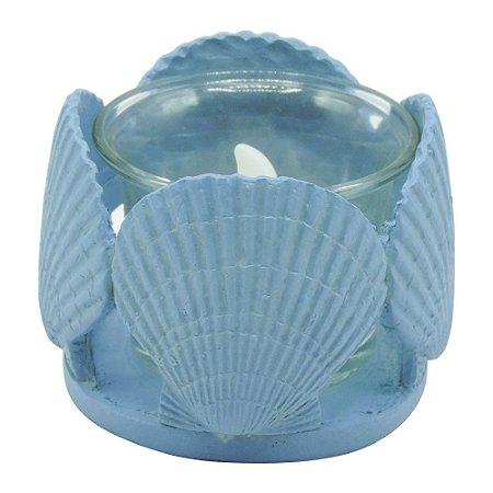 Porta-vela Conchas Azul com LED FG-53 A