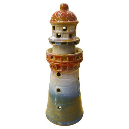 Porta-velas Farol Azul e Vermelho em Cerâmica FG-85