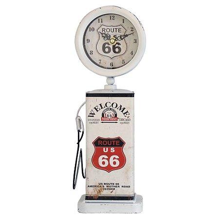 Relógio Branco Bomba de Gasolina em Metal GC-03