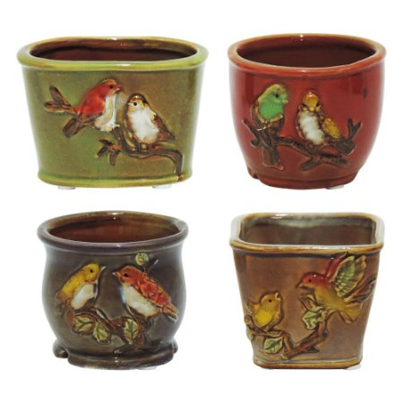 Jogo c/4 Mini Vasos Pássaro em Cerâmica HC-26