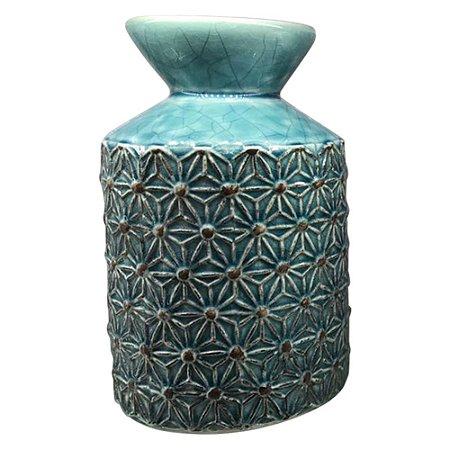 Vaso Azul Texturizado Flor HC-60 A