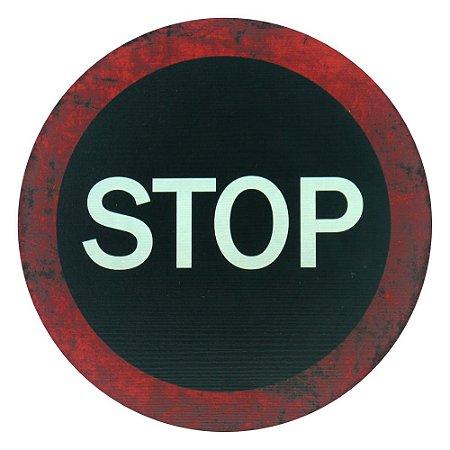 Placa Stop Preta MM-16