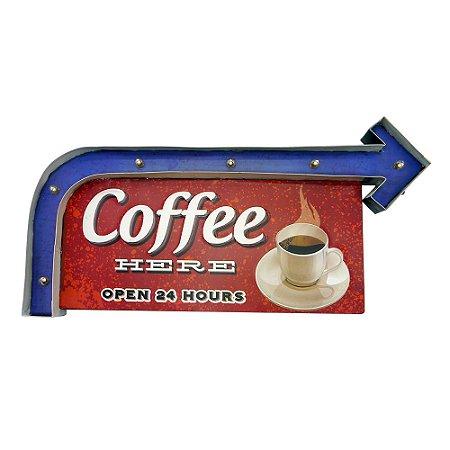 """Placa """"Coffe Here"""" com Luzes de LED MT-01"""