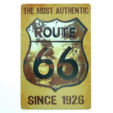 Placa Route 66 Amarela MT-87
