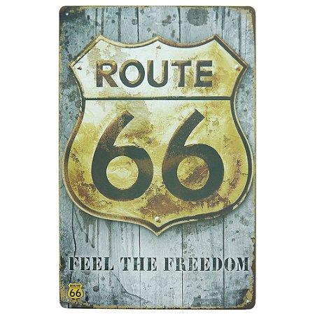 "Placa ""Feel The Freedom"" Grande Cinza MT-95"