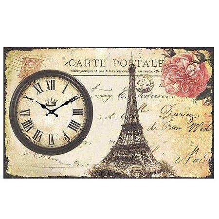 Relógio de Parede Cartão Postal Torre Eiffel RV-16