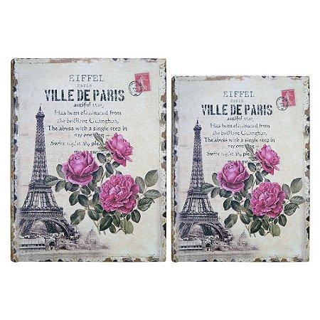 Jogo c/2 Porta Objetos Torre Eiffel Rosas YB-38