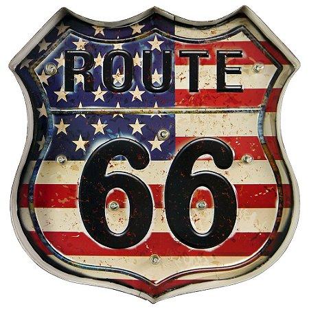 Placa com LED Route 66 EUA ZZ-41
