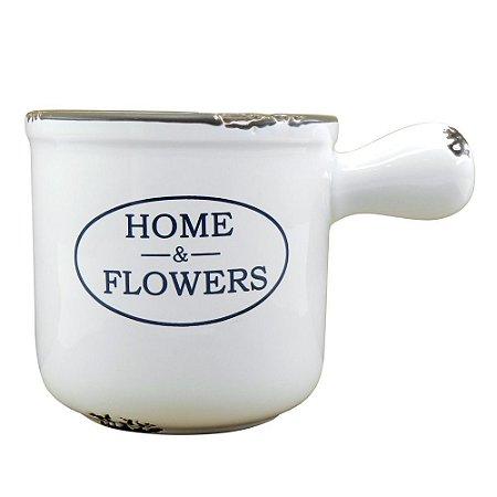Vaso Decorativo Home & Flowers Branco em Cermâmica EY-31