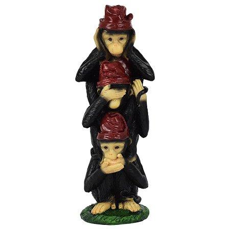 Enfeite Macacos Chapéu Vermelho em Resina YB-62