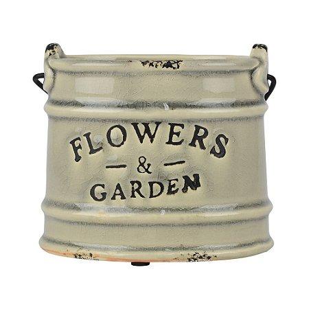 Vaso Cinza Flowers Garden YD-73